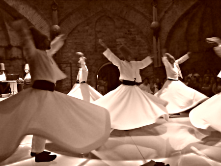 "A Sufi Dervish (""whirling dervish"") ceremony in Istanbul, Turkey"